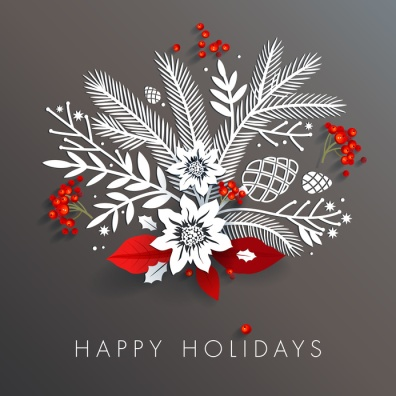White paper floral holiday arrangement with red berries and leaves. Long shadows on dark gray background create three-dimensional effect. Seasons greetings concept.